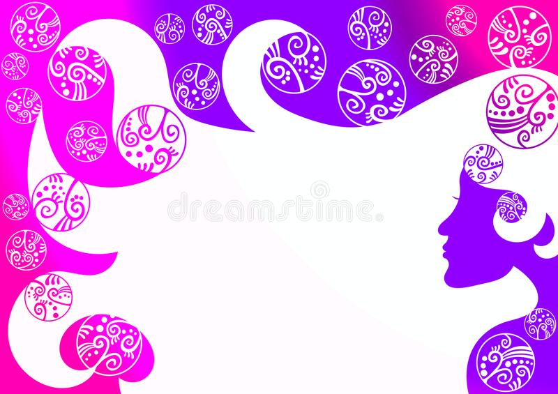 Hair Woman Bubbles Wallpaper Background. Floating ball bubbles shampoo background wallpaper. A woman in silhouette in negative space with shampoo bubble bath vector illustration