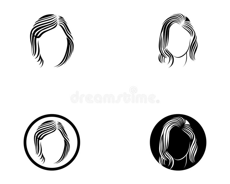 hair woman and face logo and symbols stock illustration