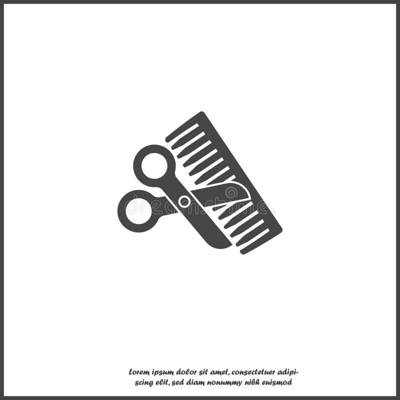 Hairbrash i nożyce na białym odosobnionym tle royalty ilustracja