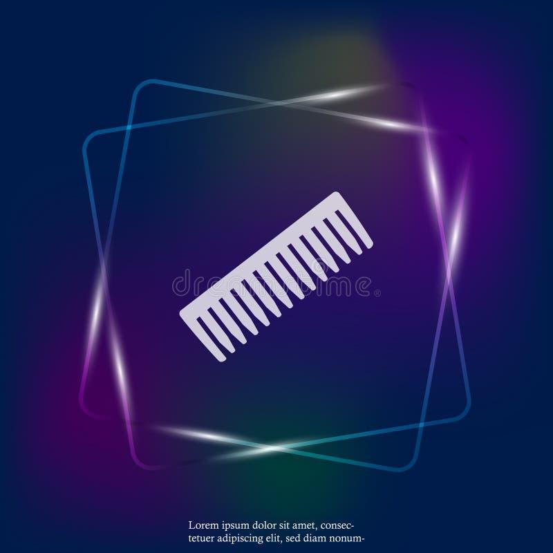 Hairbrash neonowego światła wektorowa ikona Mieszkanie grzebieniowa ikona Warstwy grupować dla łatwej edytorstwo ilustraci ilustracji