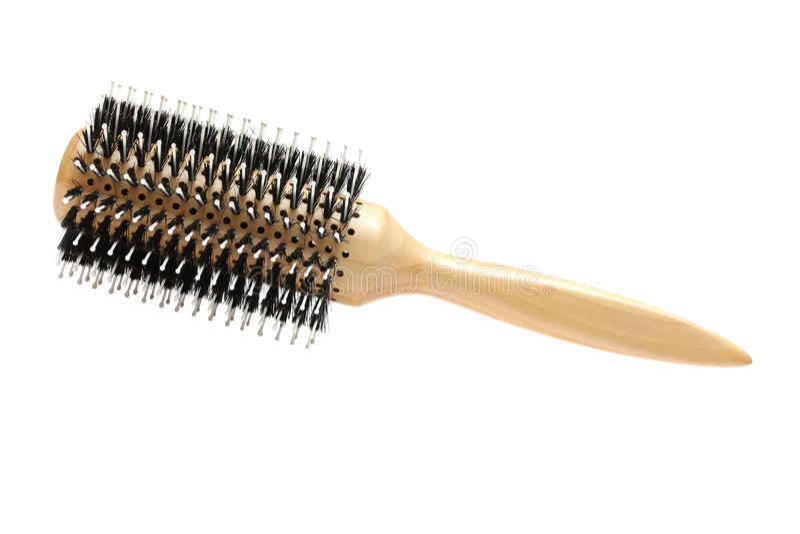 Hairbrush redondo do cabeleireiro profissional isolado fotos de stock
