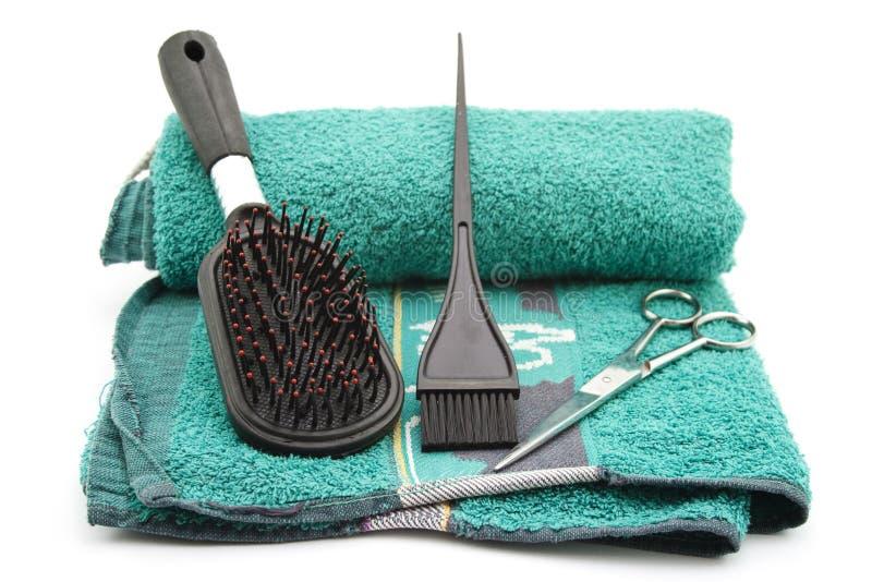 Hairbrush with Scissors stock photo