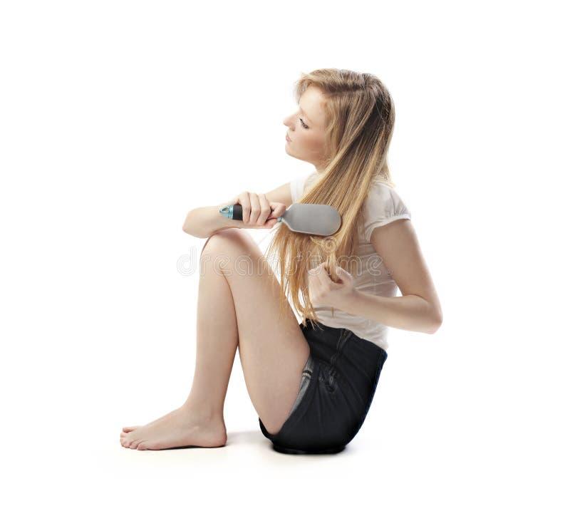 Download Hairbrushing stock photo. Image of blonde, woman, teen - 25157800