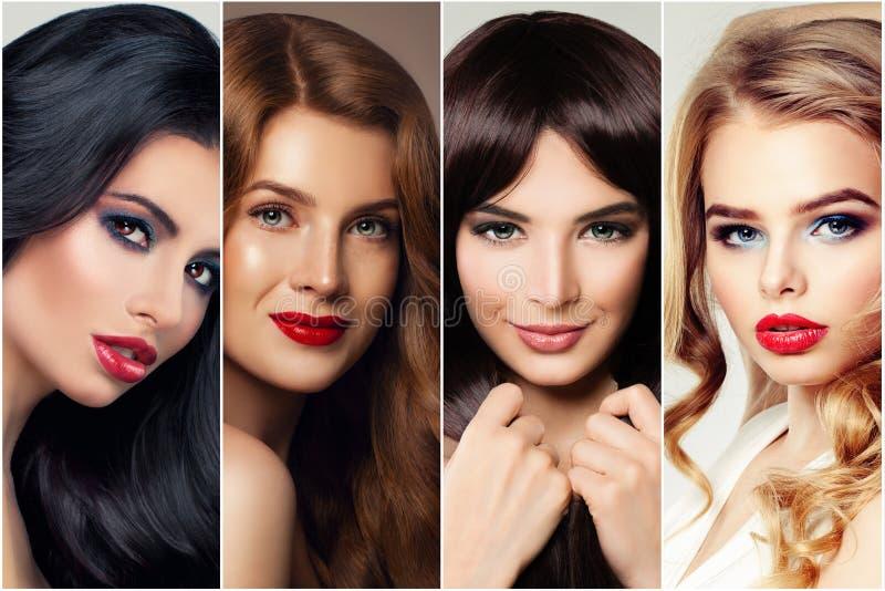 Haircare och hårfärgläggning Kvinna fyra med blond, brun och ljust rödbrun hår för brunett, royaltyfri fotografi