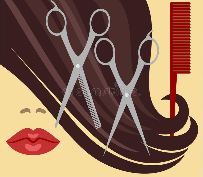 Haircut. Comb and scissors for haircut royalty free illustration