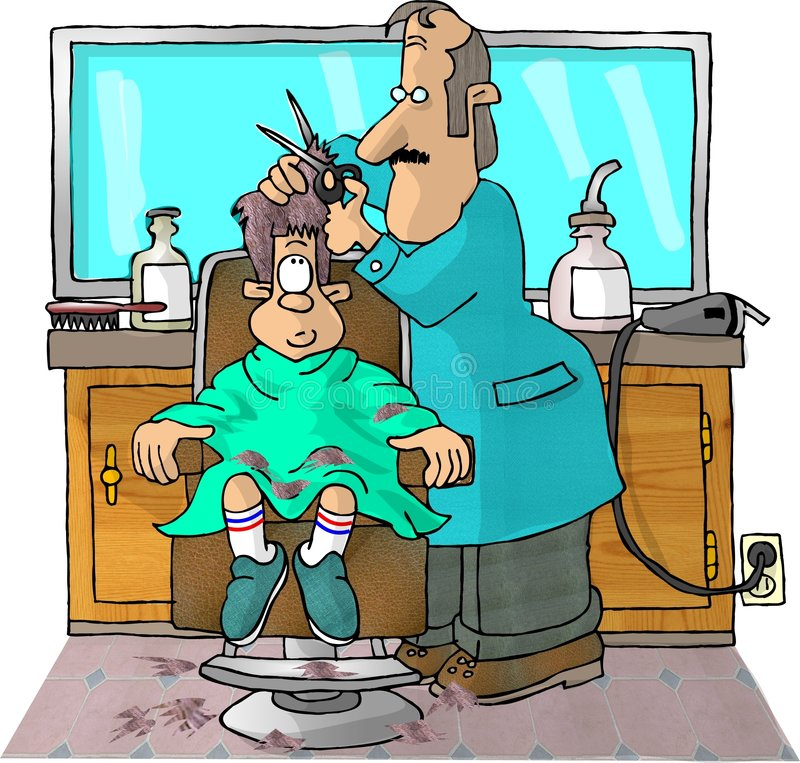 Haircut. This illustration that I created depicts a boy in a barbers chair getting a haircut vector illustration