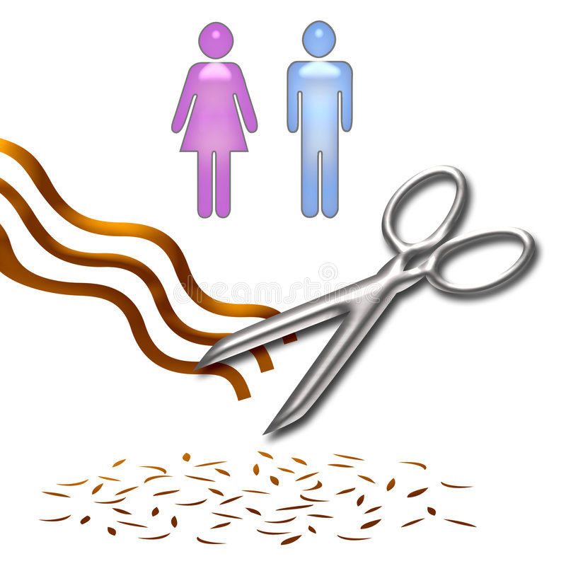 Haircut clip art. Haircut poster scissors and hair on white background stock illustration