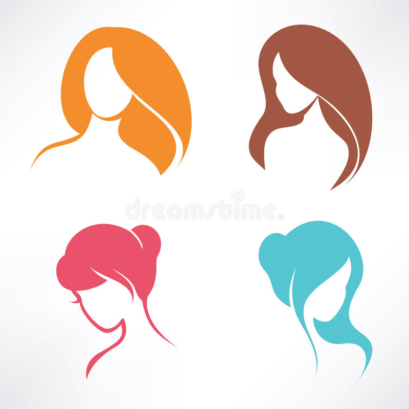 Haircut icons set. Isolated silhouettes royalty free illustration