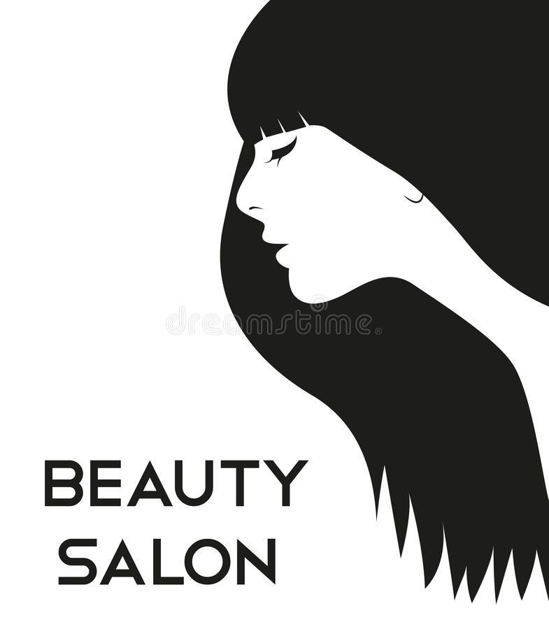 Haircut logo with beautiful woman face. Vector royalty free illustration
