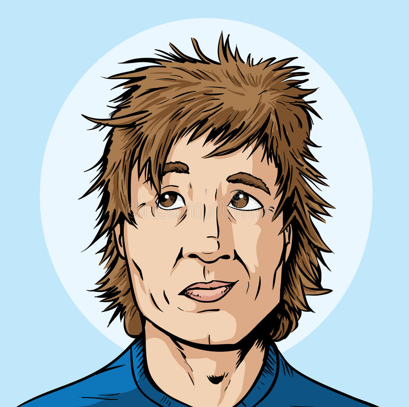 Haircut needed. Cartoon of a guy who needs a haircut stock illustration