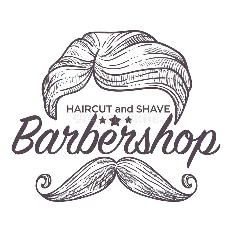 Haircut and shave, barbershop service for men styling. Logo vector. Monochrome sketch outline of persons mustache and hair made by barber. Sign of shop designed stock illustration