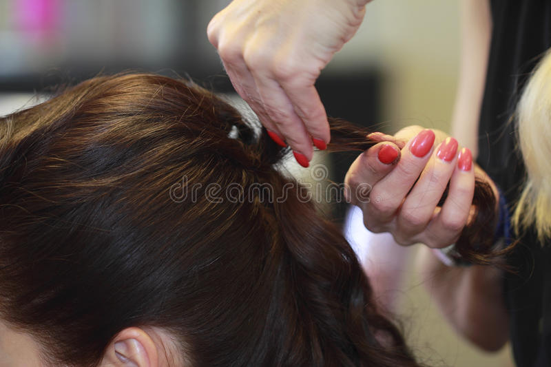 Haircut And Styling Hair Stock Photos