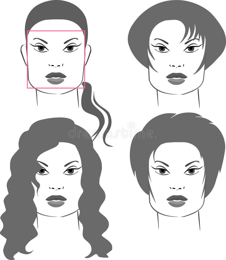 Haircuts for square face shapes royalty free illustration