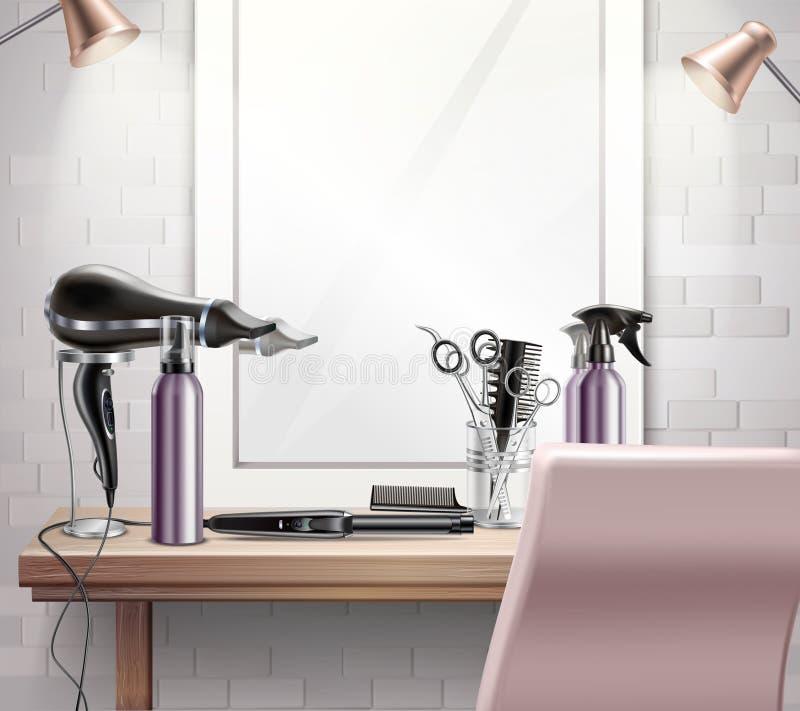 Hairdress оборудует состав иллюстрация штока