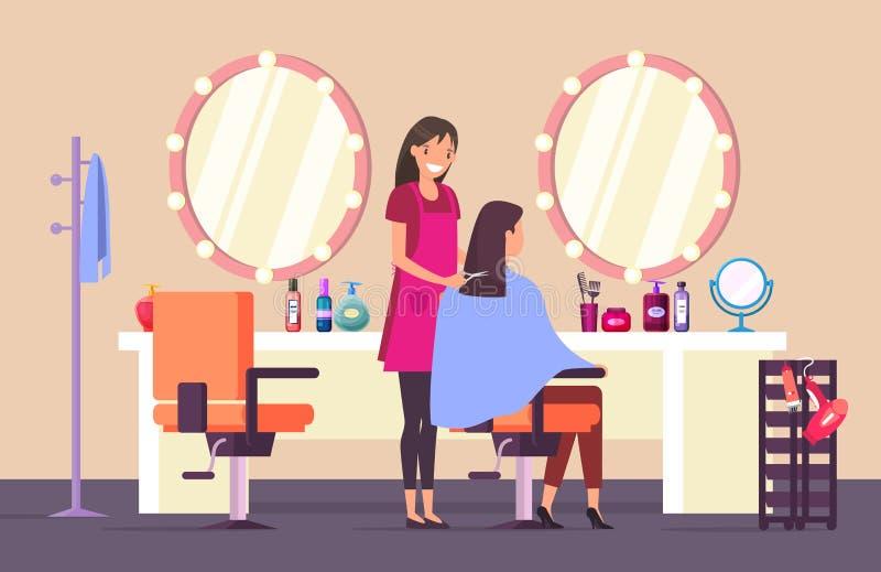 Hairdresser at beauty salon doing female haircut. Woman at hairdresser salon doing haircut royalty free illustration
