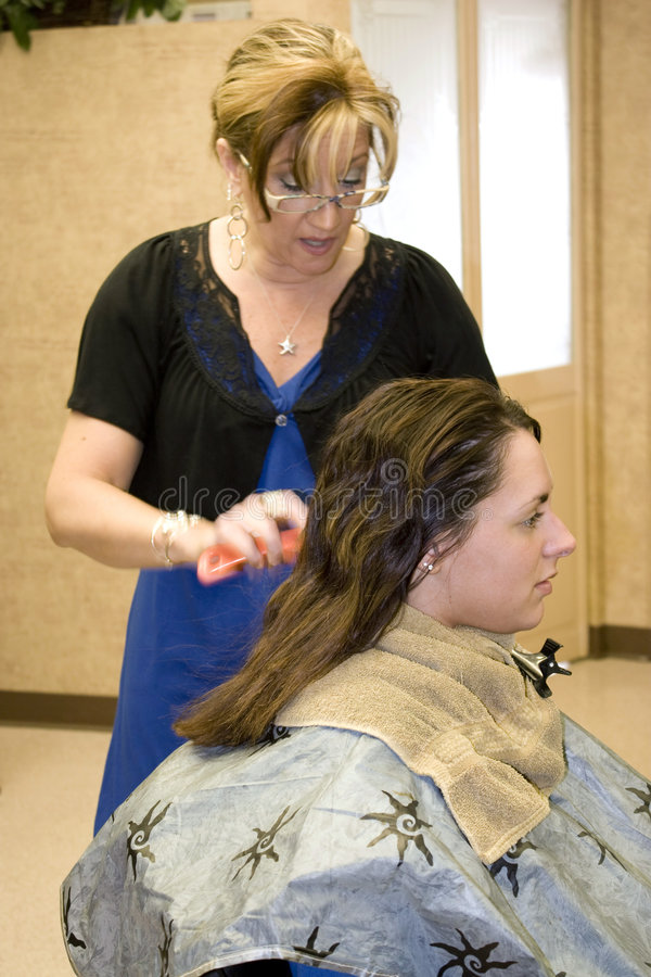 Hairdresser With Client Stock Photo