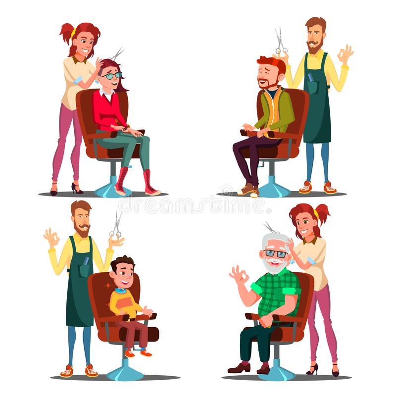 Hairdresser With Client Set Vector. Boy, Teen, Woman, Old Man. Professional Fashion Stilist. Service. Isolated Flat royalty free illustration