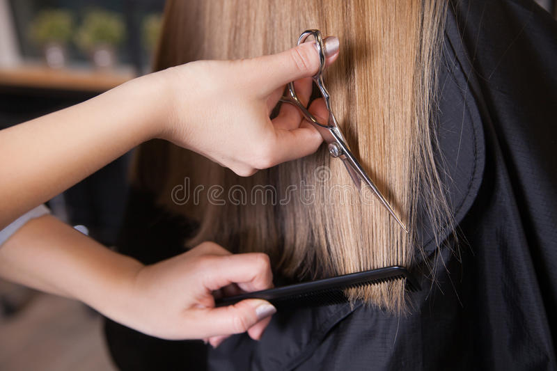 Hairdresser cut blond hair of a woman stock images