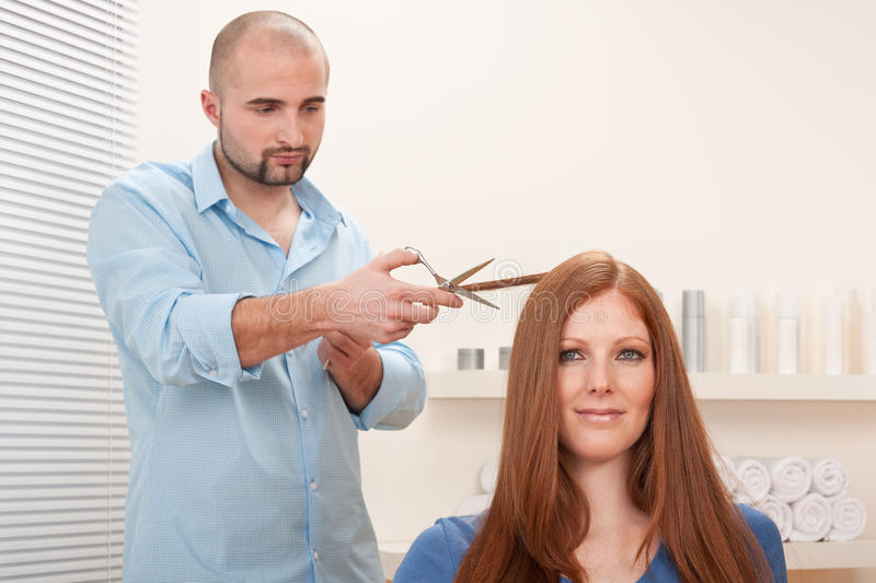 Hairdresser Cut With Scissors At Salon Royalty Free Stock Photo