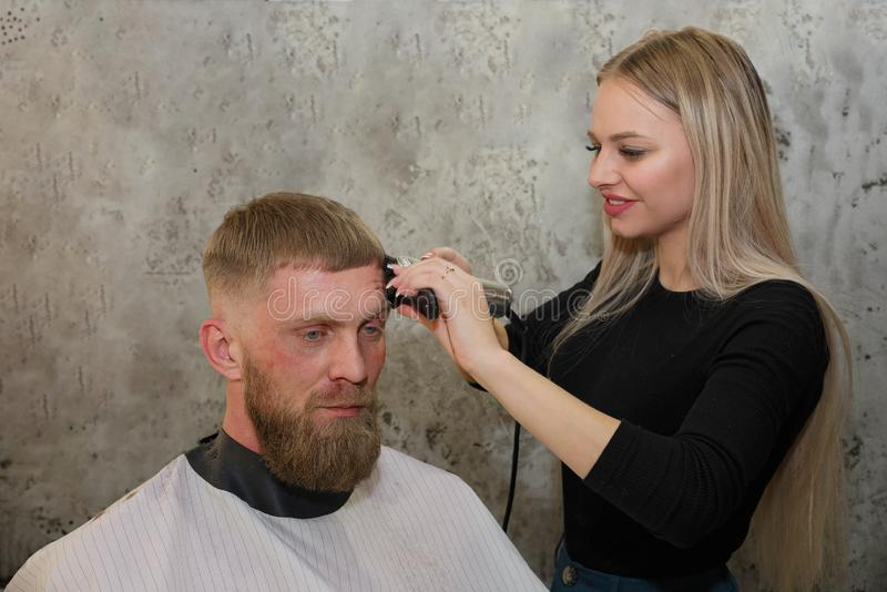 Hairdresser cuts the hair of the client in the hair salon stock photography