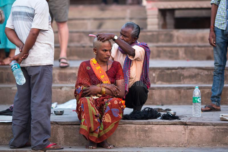 Hairdresser Cuts Hair Of The Pilgrim  A Haircut In Varanasi