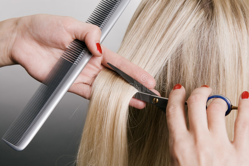 Hairdresser cutting blonde hair. Closeup over grey background stock photography