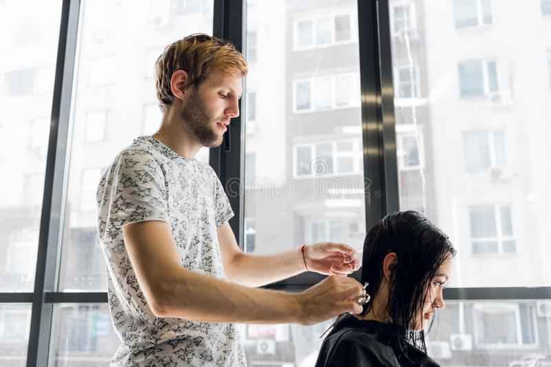 Hairdresser cutting hair of a beautiful serious brunette woman stock images
