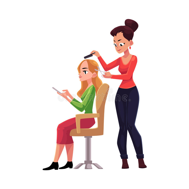 Hairdresser Cutting Hair Making Haircut For Woman In Beauty Salon Stock Vector Illustration Of Care Cheerful 97119611