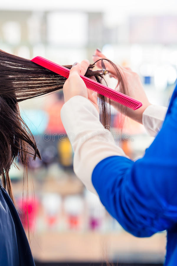 Hairdresser cutting woman hair in shop royalty free stock image