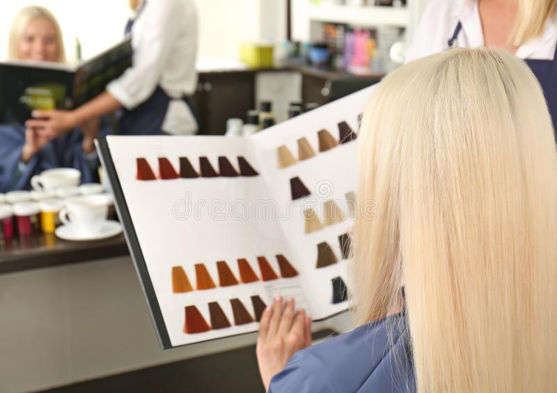 Hairdresser helping customer to choose right hair tint stock image