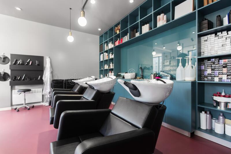 Hairdresser places and many professional cosmetics, beauty salon royalty free stock images