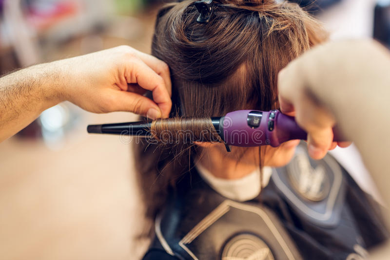 At The Hairdresser`s stock images