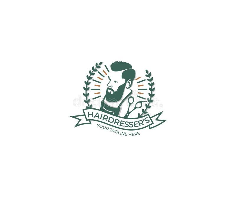 Hairdresser`s Shop Logo Template. Barber Vector Design vector illustration