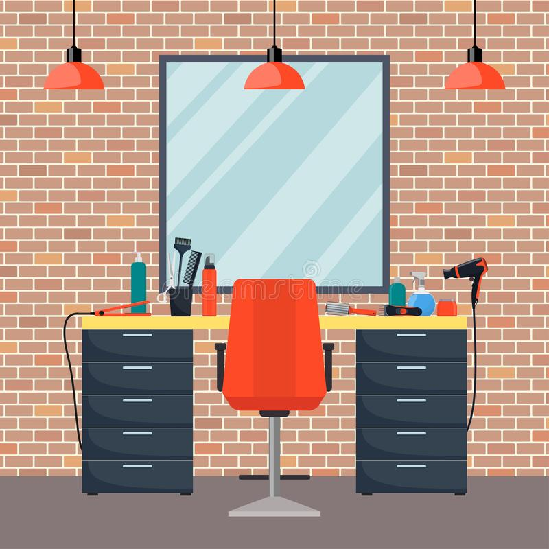 Hairdresser s workplace in woman beauty hairdressing salon. Chair, mirror, table, hairdressing tools, cosmetic products for hair c. Are. Barber shop interior stock illustration
