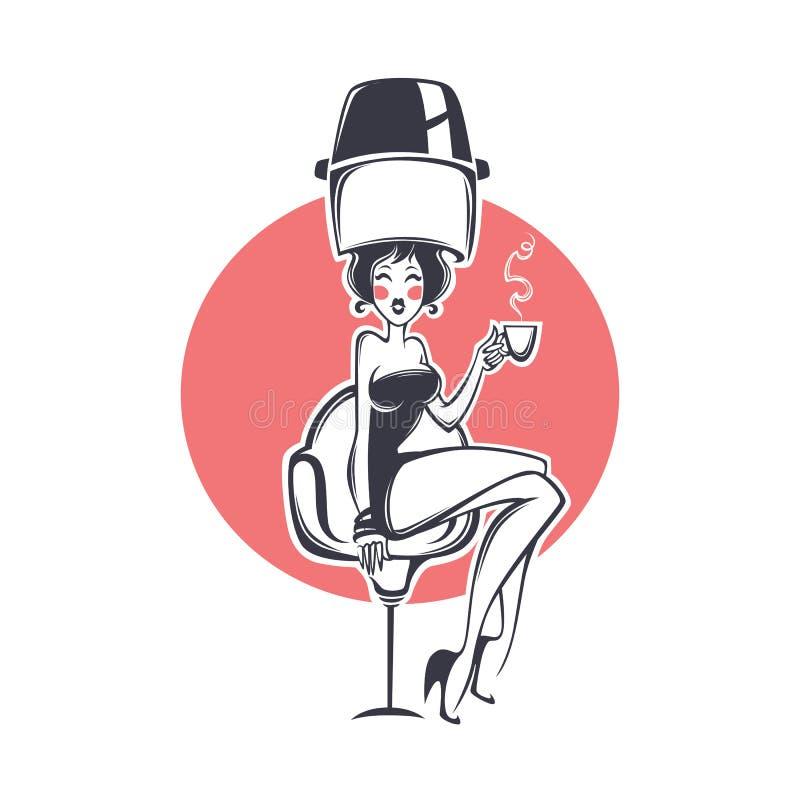 Hairdresser salon client royalty free illustration