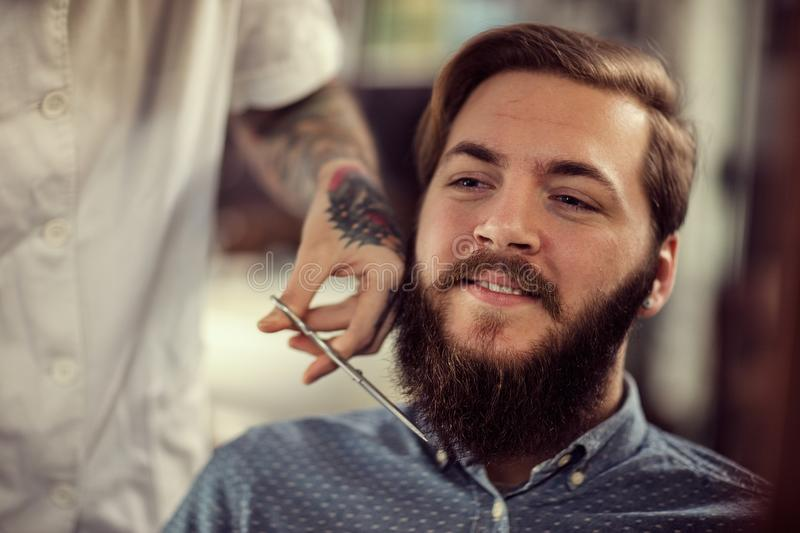 Hairdresser with scissors cut the beard stock photos