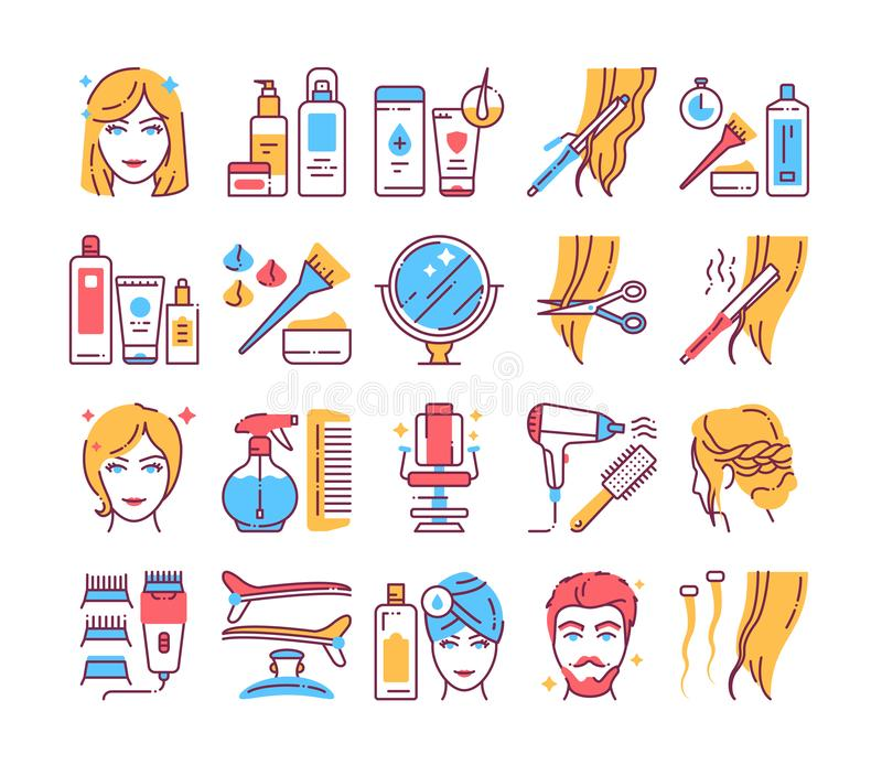 Hairdresser service color line icons set. Professional hair styling. Beauty industry. Pictograms for web page, mobile app, promo stock illustration