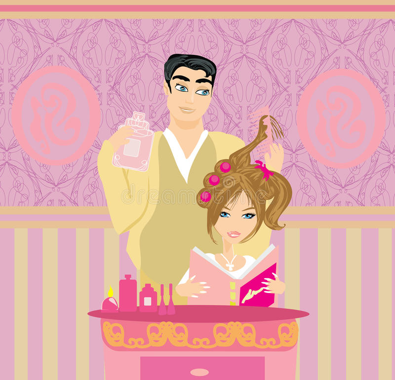 Hairdresser stylist putting rollers in woman hair in salon. Illustration royalty free illustration