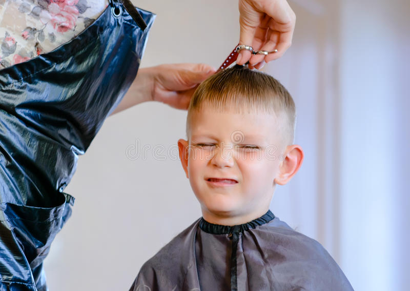 Hairdresser trimming a little boys hair stock photo