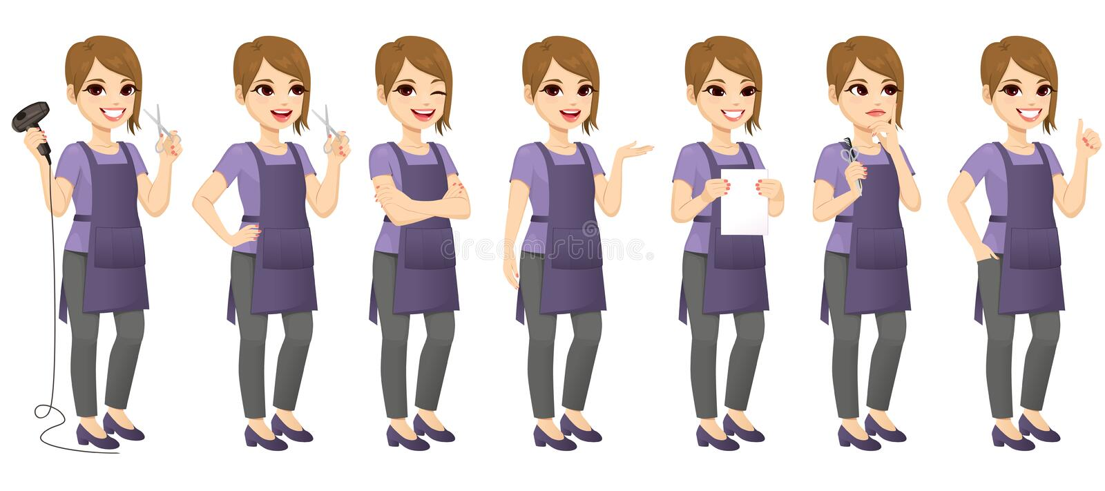 Hairdresser Woman Standing Different Gestures vector illustration