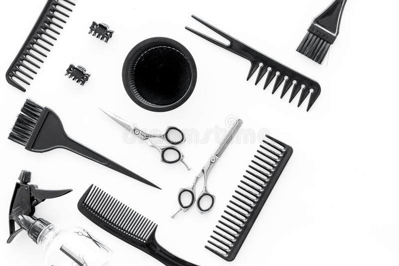 Hairdresser Working Desk With Tools For Hair Styling On White Desk Background Top View Stock ...