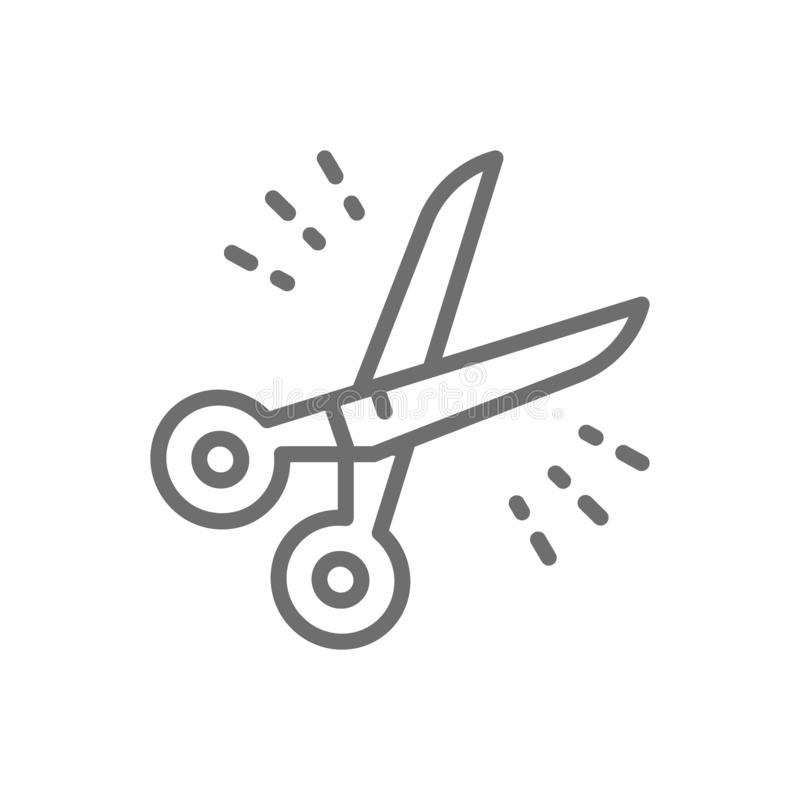Hairdressers scissors, barber tool line icon. royalty free illustration