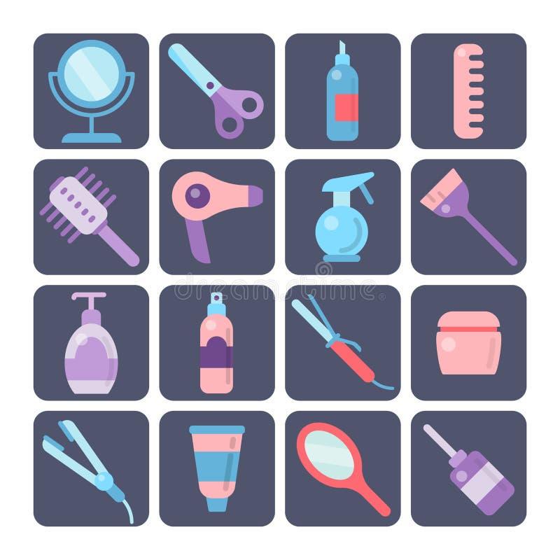 Hairdressing εικονίδια εργαλείων καθορισμένα ελεύθερη απεικόνιση δικαιώματος