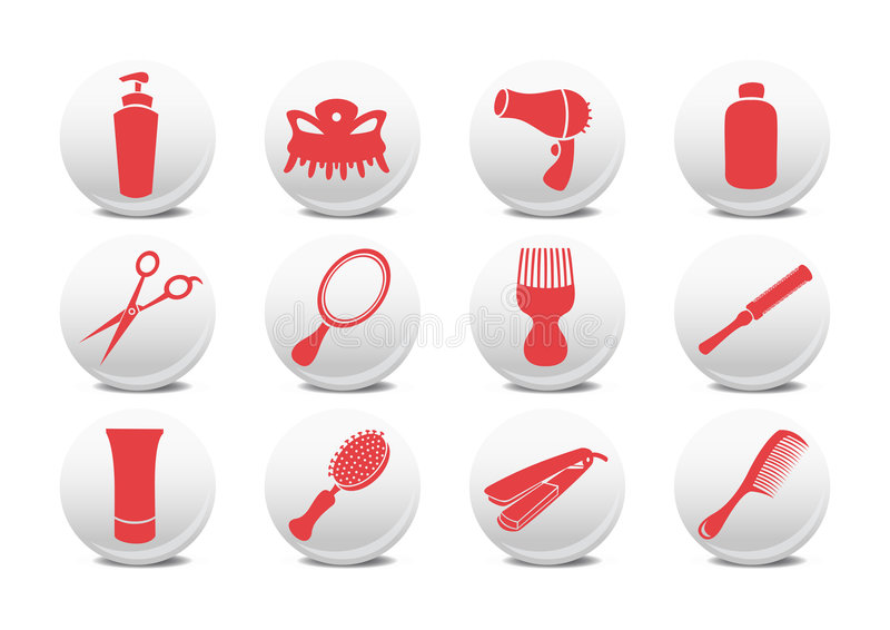 Hairdressing κουμπιά σαλονιών ελεύθερη απεικόνιση δικαιώματος
