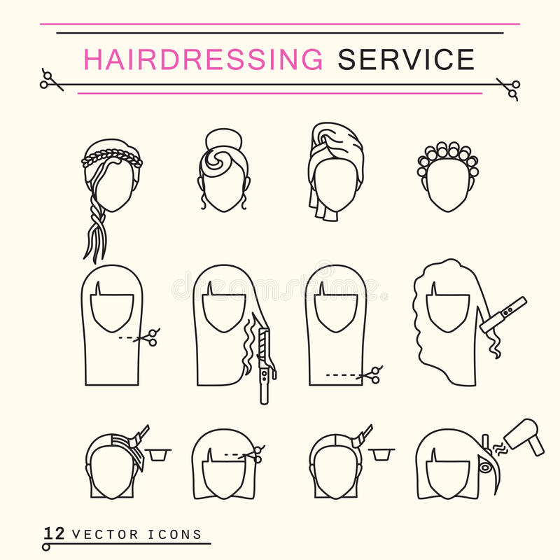 Hairdressing υπηρεσία Εικονίδια τέχνης γραμμών στοκ φωτογραφίες με δικαίωμα ελεύθερης χρήσης