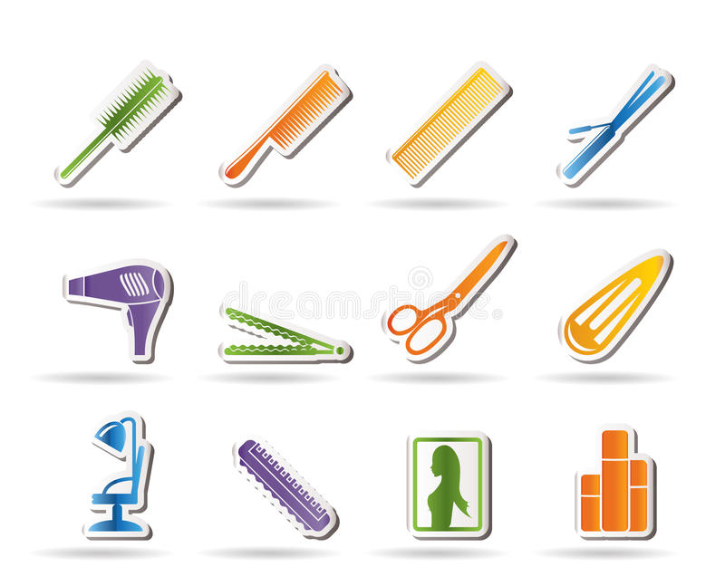 Hairdressing, coiffure and make-up icons stock illustration