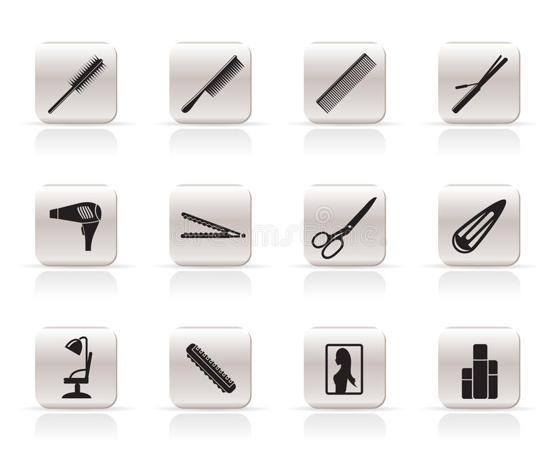 Download Hairdressing, Coiffure And Make-up Icons Stock Vector - Illustration of blower, button: 9851851