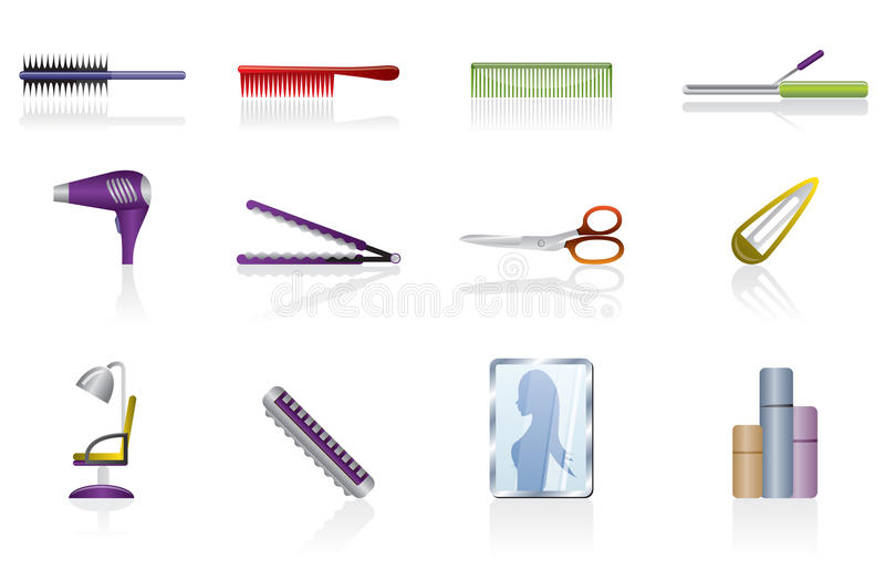 Download Hairdressing, Coiffure And Make-up Vector Icon Stock Vector - Illustration of button, drier: 10080528