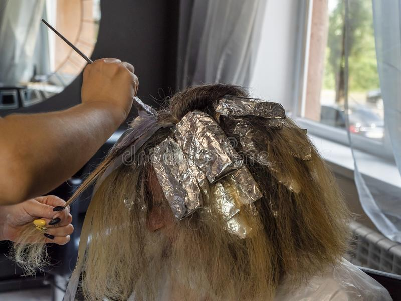 Hairdressing. Hair highlights. Brush in the hands of a hairdresser. Wrapping strands in foil. Bleaching hair. Beauty saloon stock image