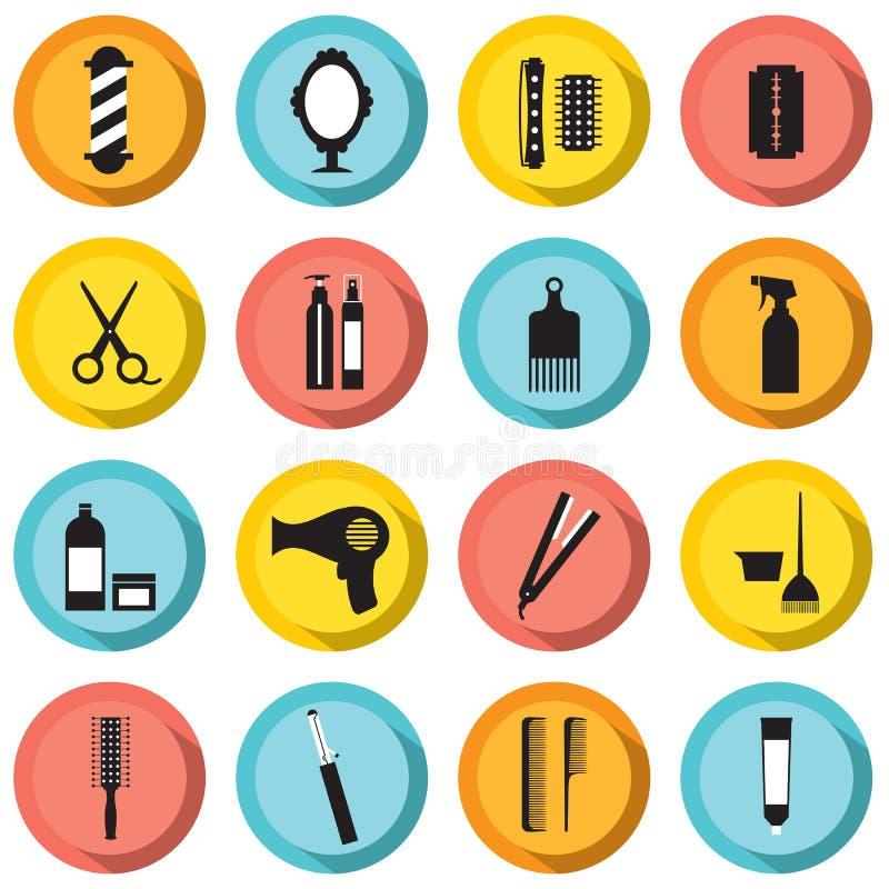 Hairdressing Icons Set. Vector Illustration
